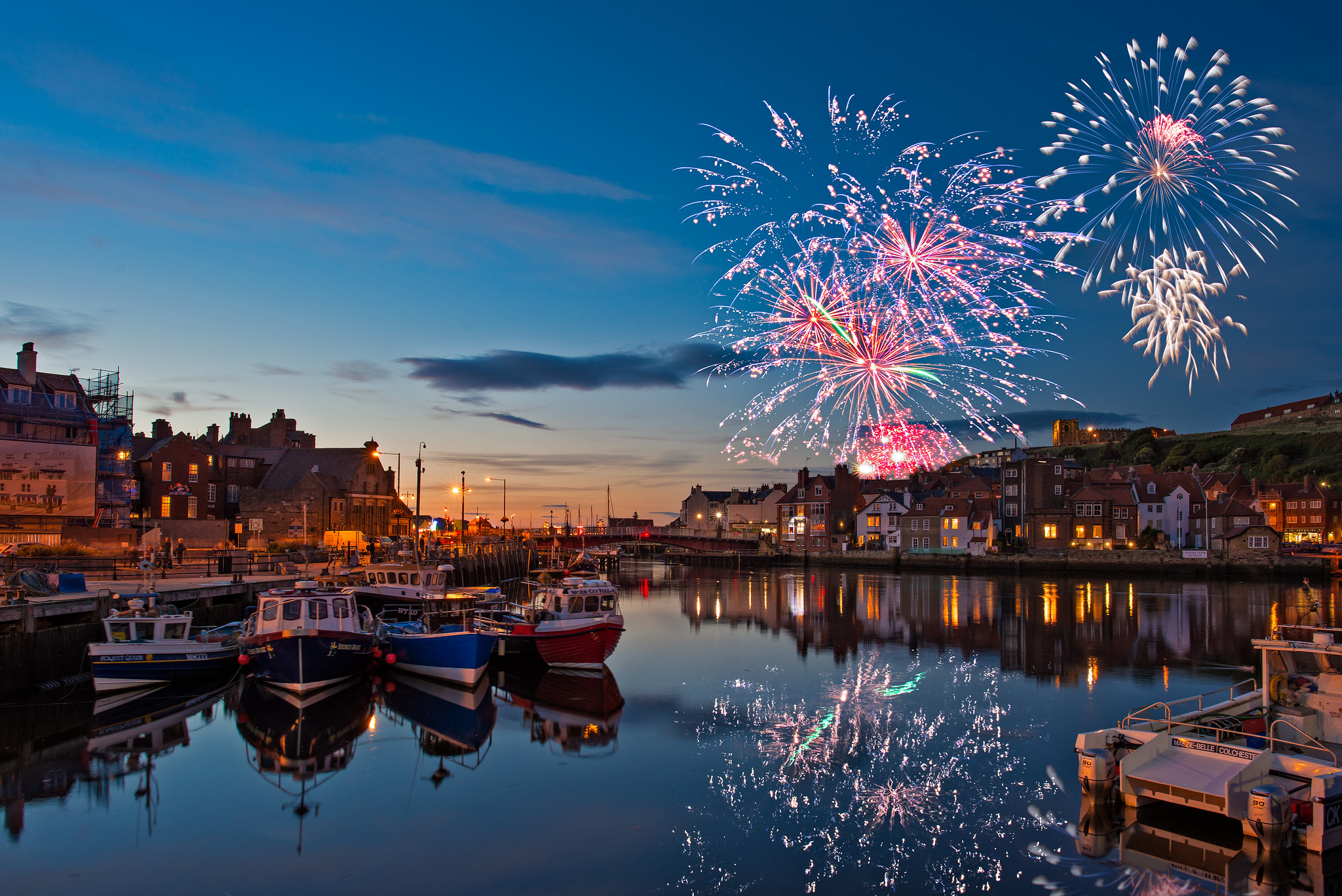 Fireworks over Whitby harbour